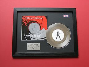 "DURAN DURAN - A View To A Kill 7"" Platinum Disc with Cover"